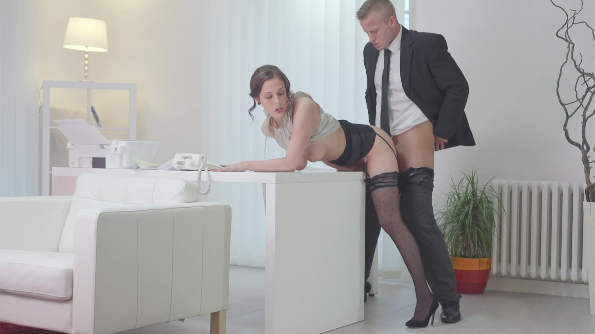 Sexy clothes lusty babe office scene