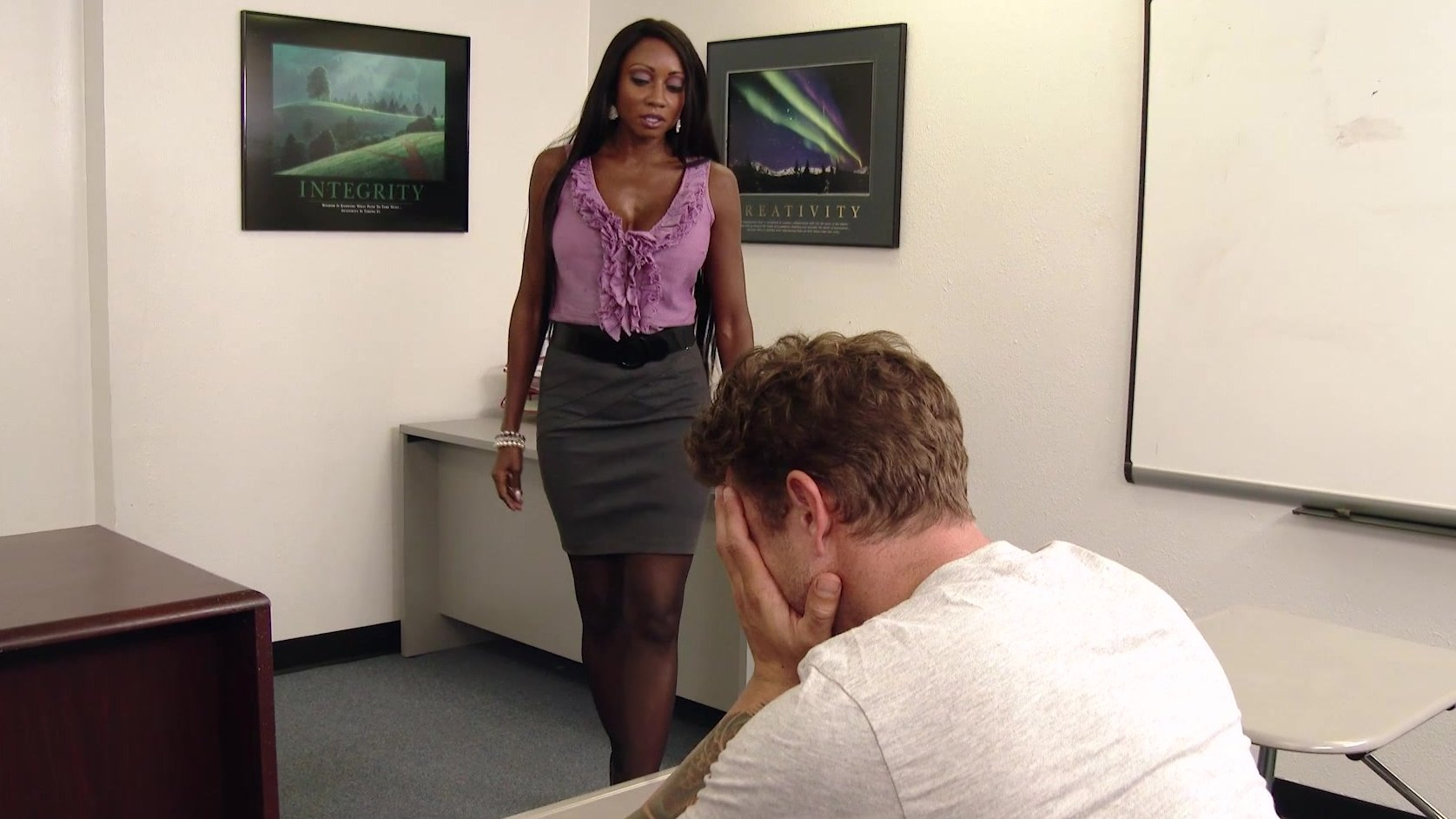 Ebony teacher gets her bush glazed with cum after fucking with her student  1051019