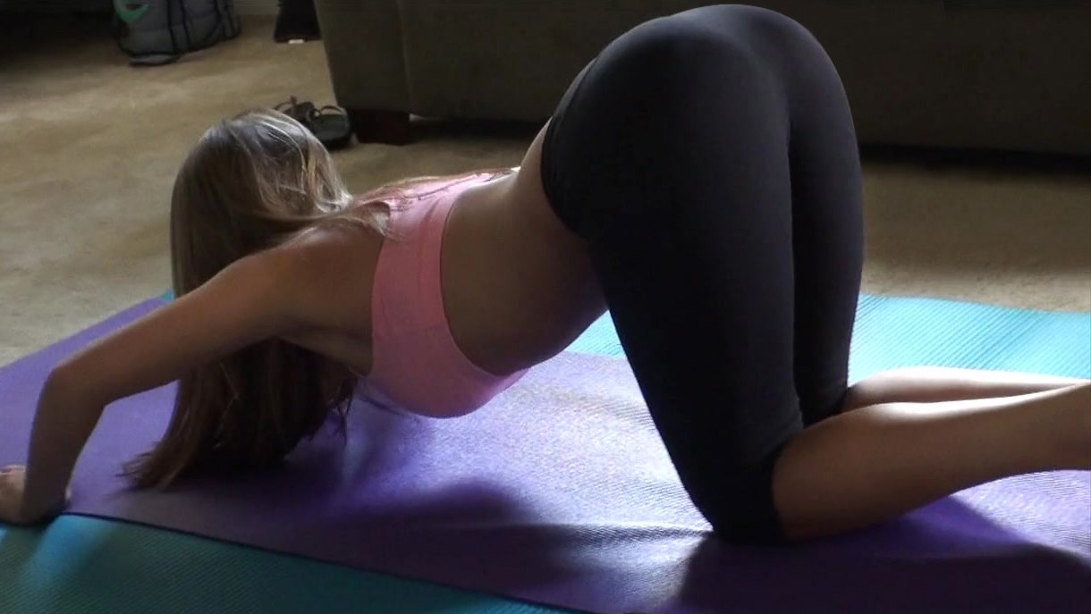 beautiful fitness girl giving head