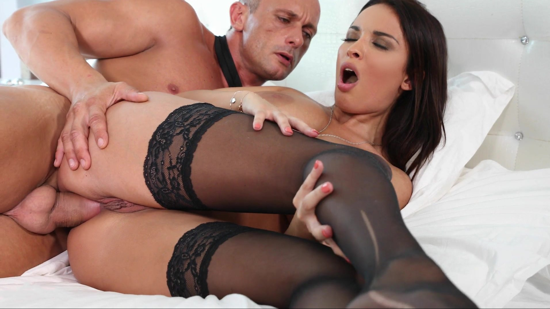 Black stockings and big tits make a guy for hot sex